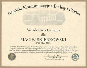 Wynajem limuzyny Warszawa - Certyfikat / Biały dom USA