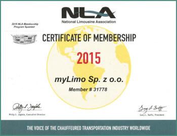 Wynajem limuzyny Warszawa - certyfikat NLA